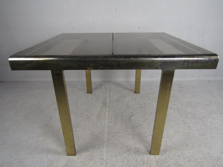 Mid-Century Modern Expanding Brass Dining Table with a Smoked Glass Top For Sale 8