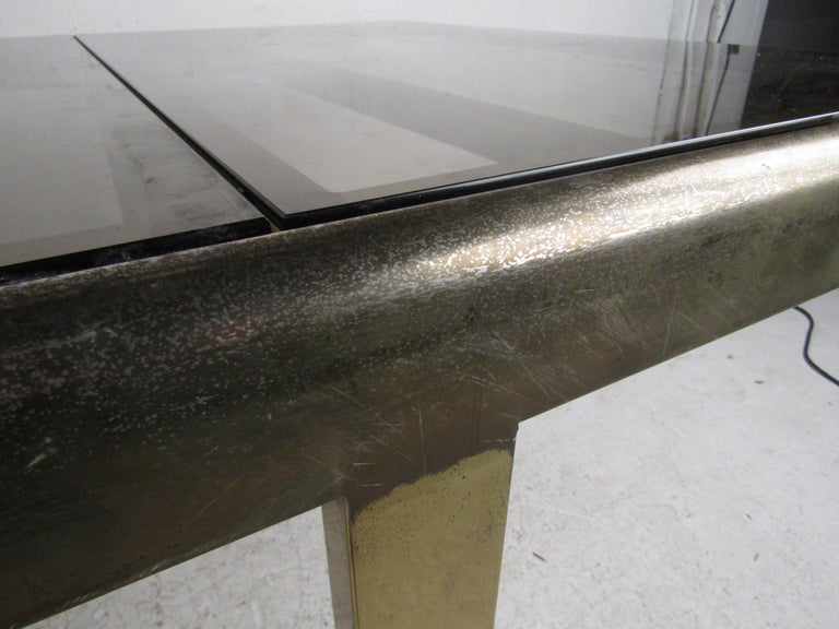 Mid-Century Modern Expanding Brass Dining Table with a Smoked Glass Top For Sale 11