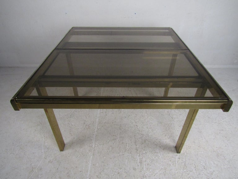 Mid-Century Modern Expanding Brass Dining Table with a Smoked Glass Top For Sale 2