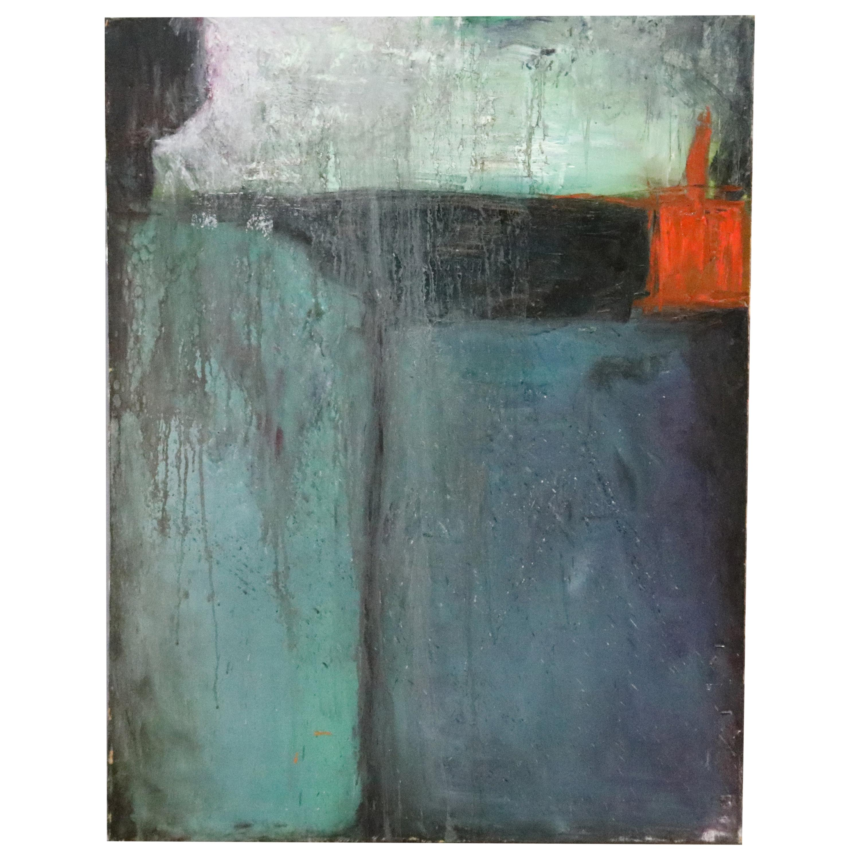 Mid-Century Modern Expressionist Abstract Oil on Canvas, Artist Signed