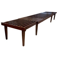 Mid-Century Modern Extending Slatted Bench by John Keal Newly Finished