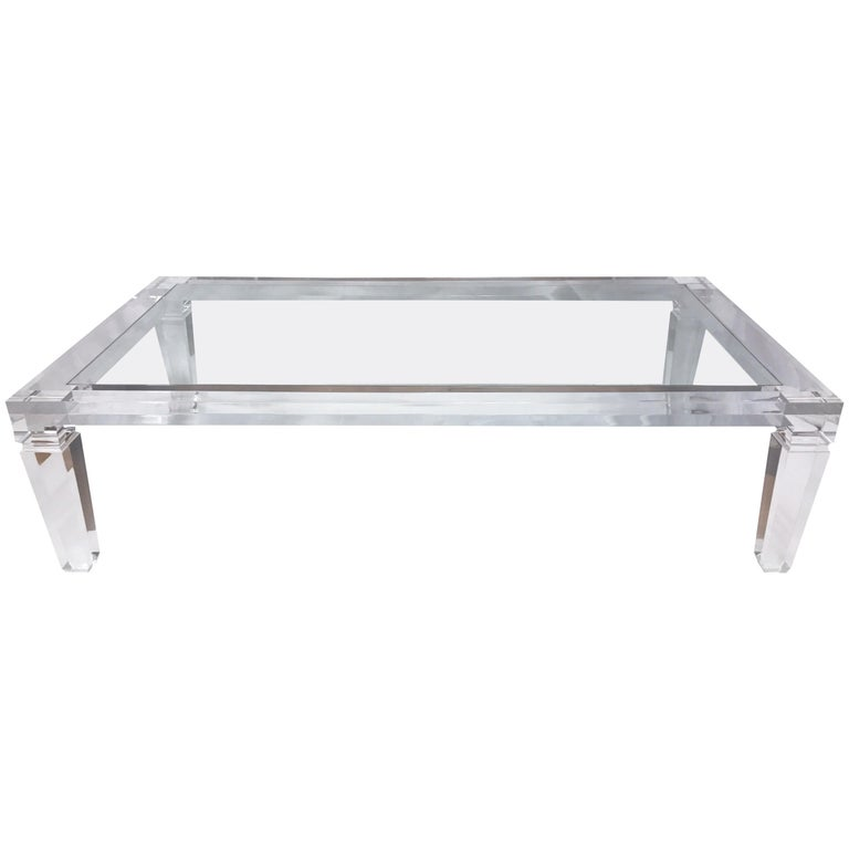 Mid Century Modern Extra Large Clear Lucite Rectangular Coffee Table