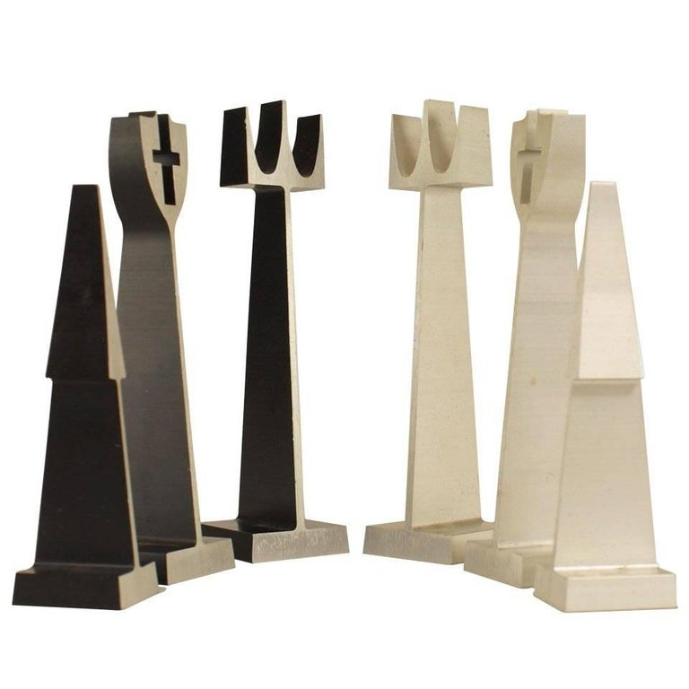 Mid-Century Modern Extruded Aluminum Chess Set For Sale
