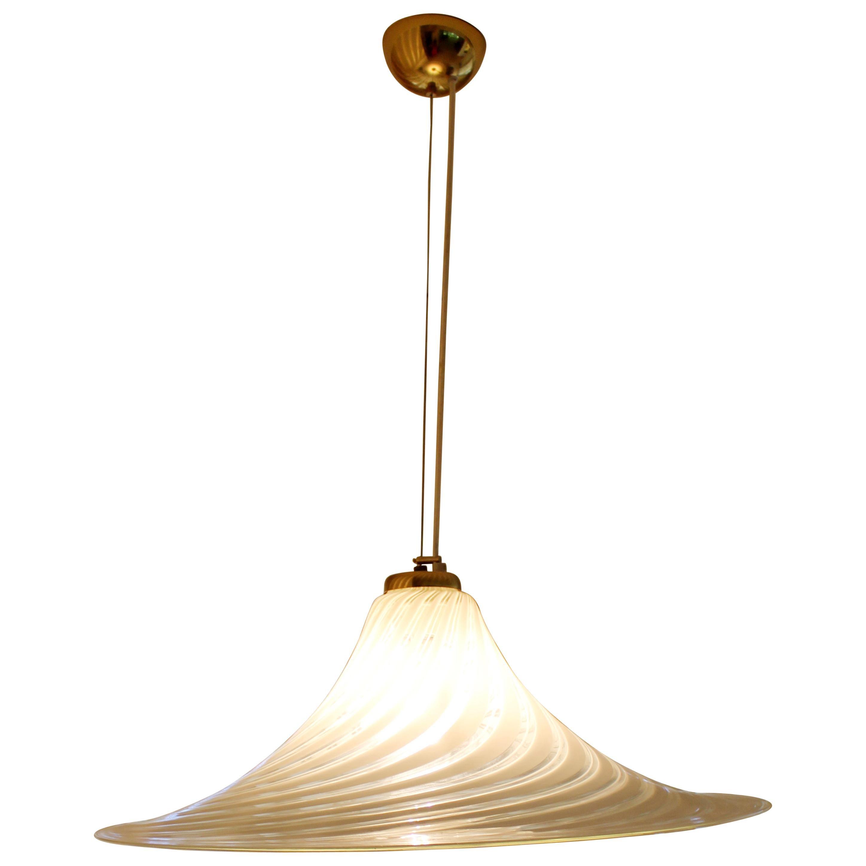 Mid-Century Modern Fabbian Murano Italian Glass Brass Pendant Light Fixture,1970