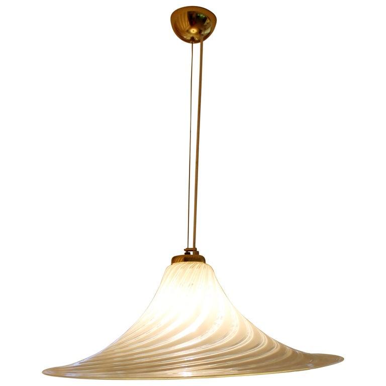Mid-Century Modern Fabbian Murano Italian Glass Brass Pendant Light Fixture,1970 For Sale