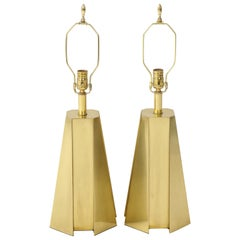 Mid-Century Modern Faceted Brass Table Lamps
