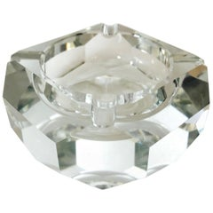 Mid-Century Modern Faceted Crystal Ashtray, France, 1960s
