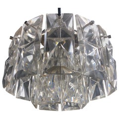 Mid-Century Modern Faceted Glass Round Chandelier