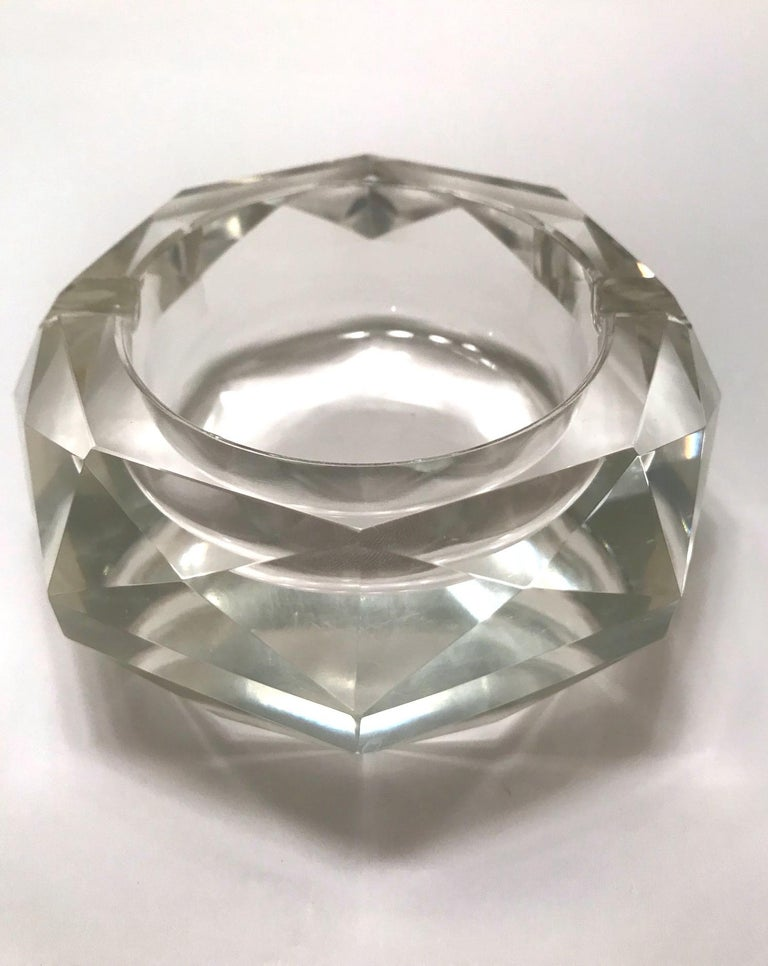 Mid-20th Century Mid-Century Modern Faceted Murano Glass Ashtray, Italy, 1950s For Sale