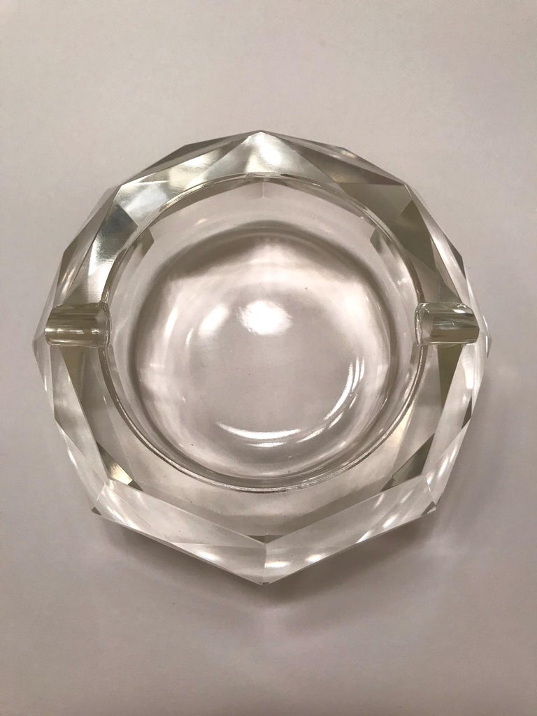 Mid-Century Modern Faceted Murano Glass Ashtray, Italy, 1950s For Sale 1