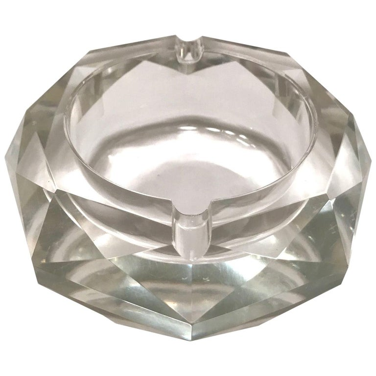 Mid-Century Modern Faceted Murano Glass Ashtray, Italy, 1950s For Sale