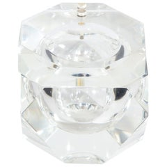 Mid-Century Modern Faceted Swivel Top Lucite Ice Bucket by Carole Stupell