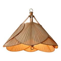 Mid-Century Modern Fan or Uchiwa Pendant Lamp or Chandelier 1970s, Germany