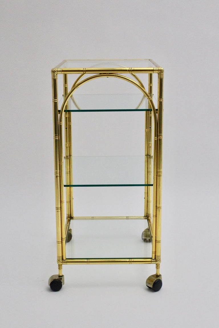 Mid-20th Century Mid-Century Modern Faux Bamboo Bar Cart by Maison Baguès Attributed, 1960s For Sale