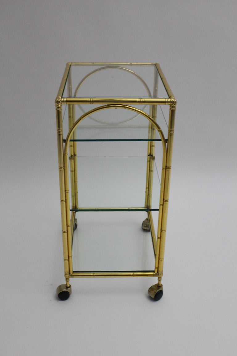 Mid-Century Modern Faux Bamboo Bar Cart by Maison Baguès Attributed, 1960s For Sale 1