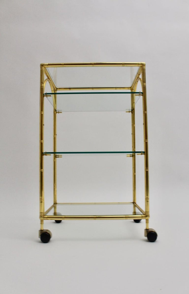 Mid-Century Modern Faux Bamboo Bar Cart by Maison Baguès Attributed, 1960s For Sale 3