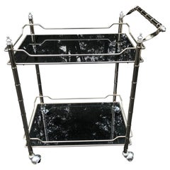 Mid-Century Modern Faux Bamboo Bar Cart