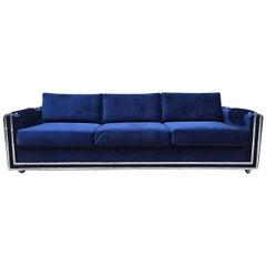 Mid-Century Modern Faux Bamboo Blue Velvet Sofa