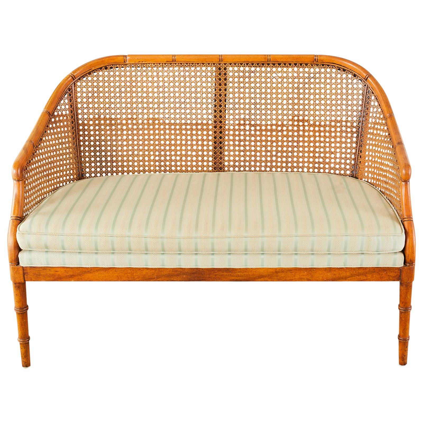 Mid-Century Modern Faux Bamboo Caned Settee Loveseat
