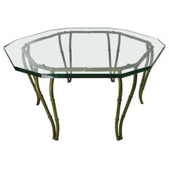 Mid-Century Modern Faux Bamboo Cast Iron Glass Top Coffee Table