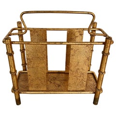 Mid-Century Modern Faux Bamboo Gilt Metal Magazine Rack
