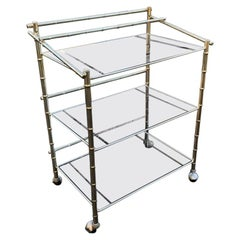 Mid-Century Modern Faux Bamboo Rolling Bar Cart 3-Level Brass and Smoked Glass