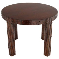 Mid-Century Modern Faux Bamboo Round Side Occasional Table
