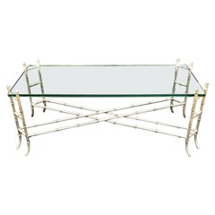 Mid-Century Modern Faux Bamboo Silver Gilt Iron Glass Coffee Cocktail Table