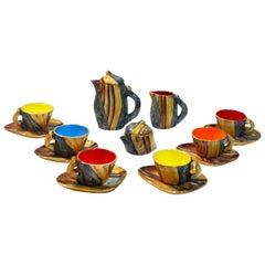 Mid-Century Modern Faux Bois Studio Ceramic Tea Set, Grandjean Vallauris, France