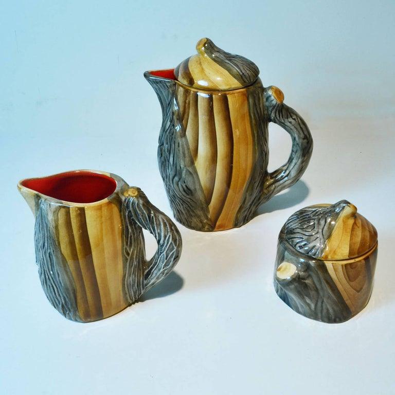 Ceramic Mid-Century Modern Faux Bois Tea Set, Vallauris France For Sale