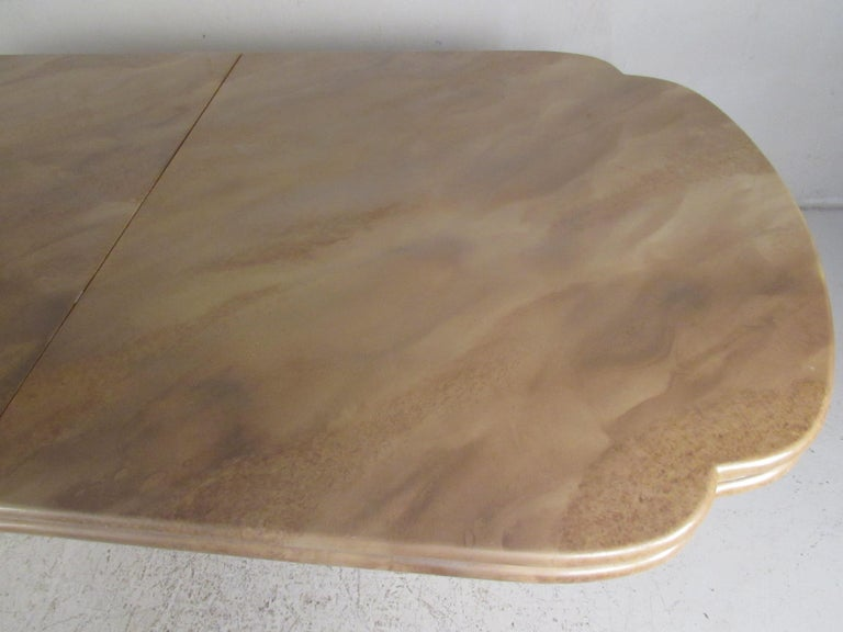 Late 20th Century Mid-Century Modern Faux Marble Dining Table For Sale