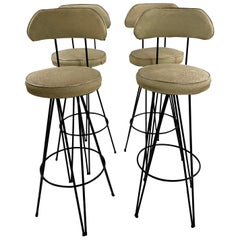 Mid-Century Modern Federick Weinburg Style Hairpin Swivel Stools, Set of 4