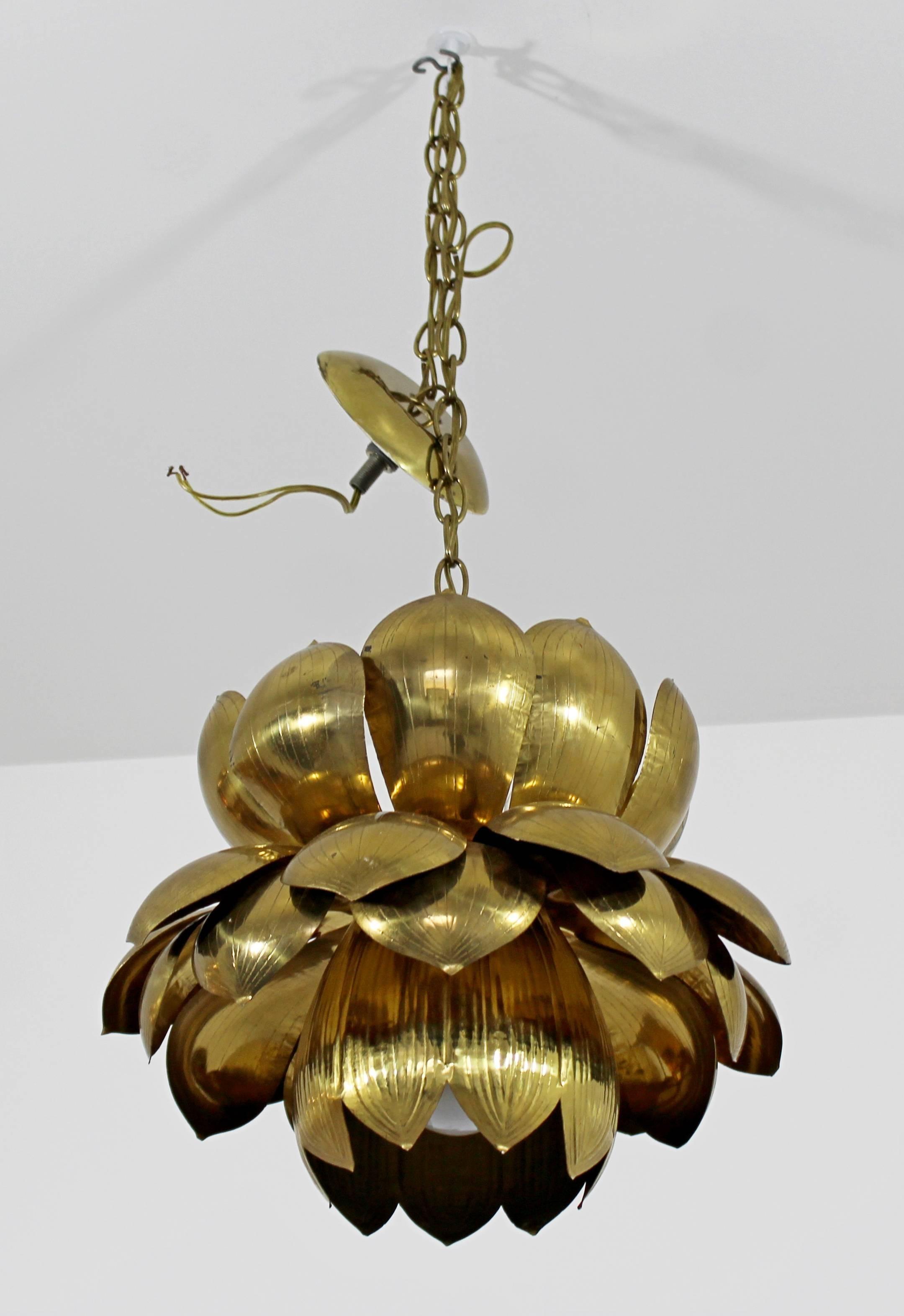 Mid Century Modern Feldman Brass Lotus Flower Ceiling Pendant