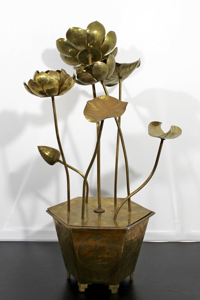 Mid-Century Modern Feldman Chinoiserie Brass Lotus Sculpture Jere Era, 1970s For Sale 6