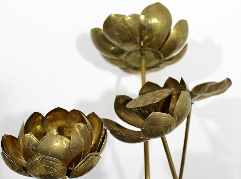 Mid-Century Modern Feldman Chinoiserie Brass Lotus Sculpture Jere Era, 1970s For Sale 7