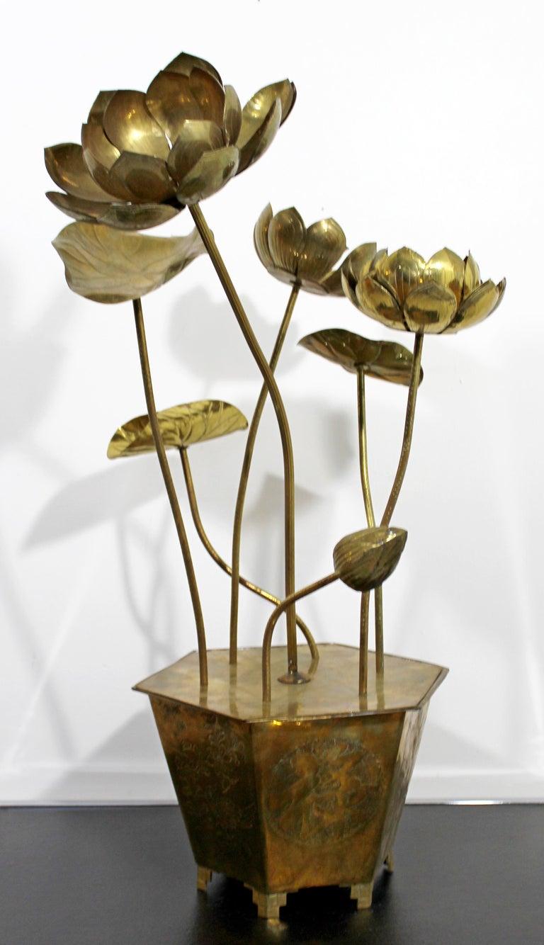 Mid-Century Modern Feldman Chinoiserie Brass Lotus Sculpture Jere Era, 1970s For Sale 1