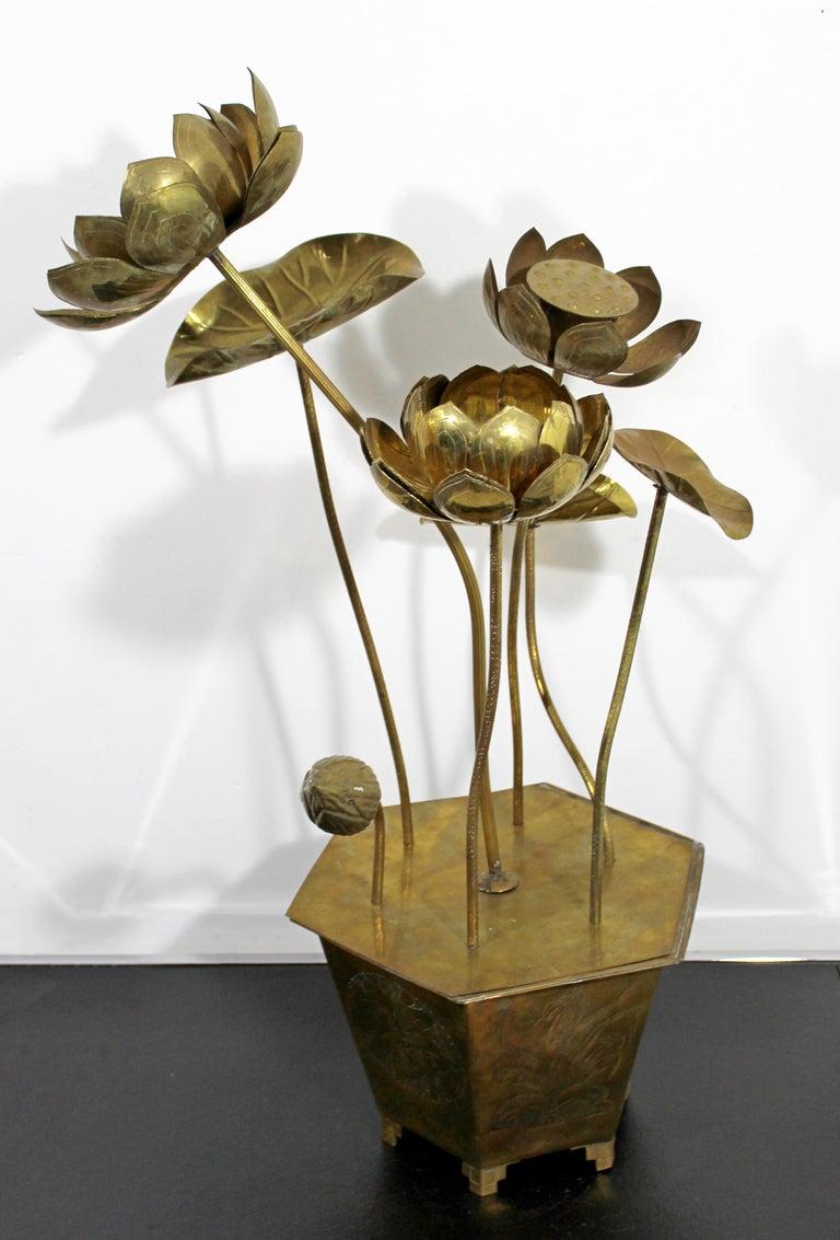 Mid-Century Modern Feldman Chinoiserie Brass Lotus Sculpture Jere Era, 1970s For Sale 2