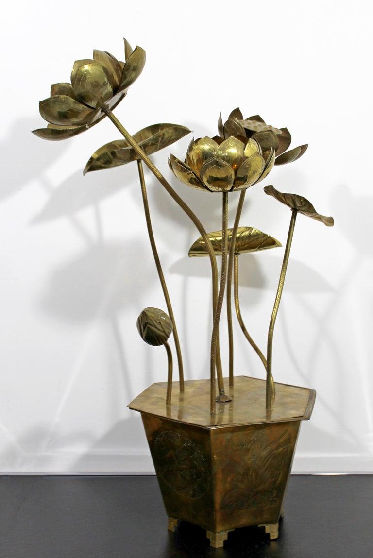 Mid-Century Modern Feldman Chinoiserie Brass Lotus Sculpture Jere Era, 1970s For Sale 3
