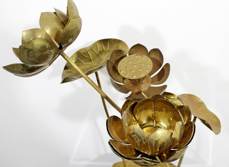 Mid-Century Modern Feldman Chinoiserie Brass Lotus Sculpture Jere Era, 1970s For Sale 4