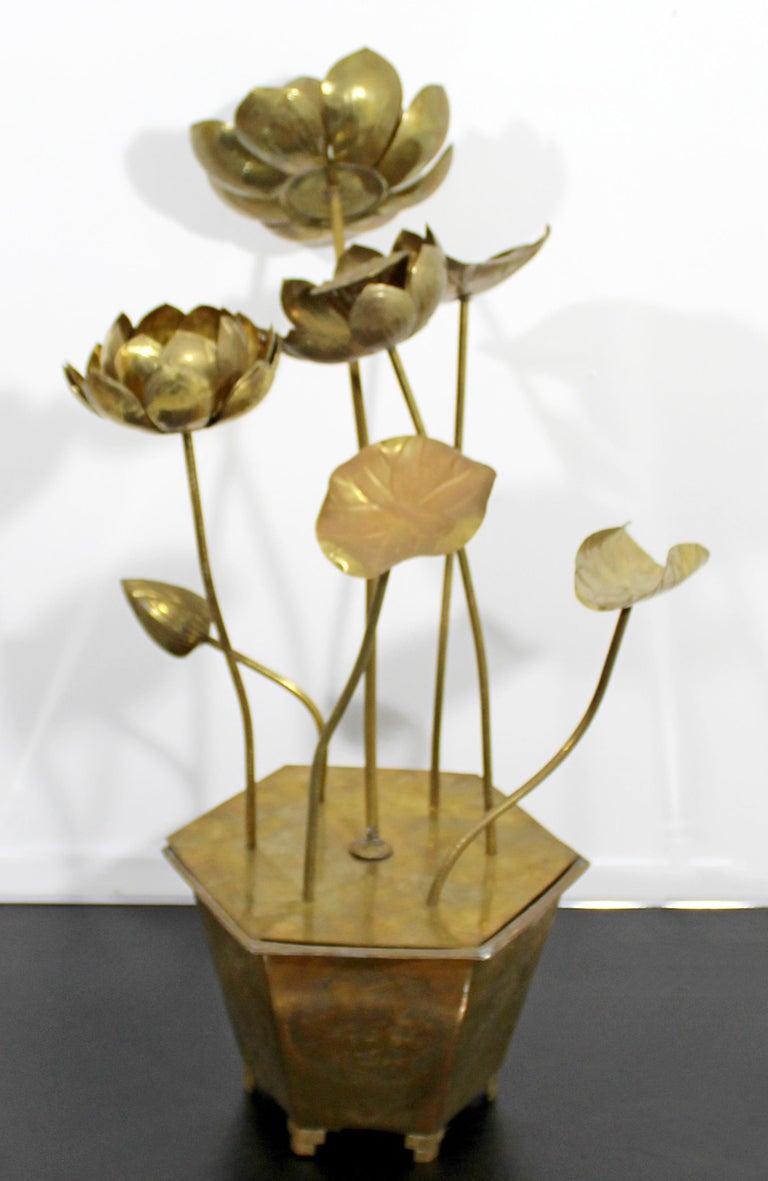 Mid-Century Modern Feldman Chinoiserie Brass Lotus Sculpture Jere Era, 1970s For Sale 5