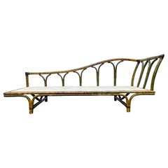 Mid-Century Modern Ficks Reed Rattan Daybed Chaise Lounge