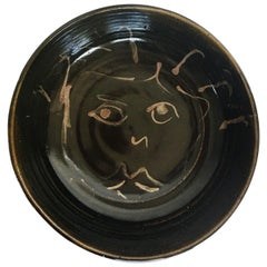 Mid-Century Modern Figural Face Ceramic Pottery Bowl