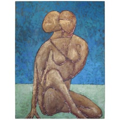 Mid-Century Modern Figurative Nude Woman Painting