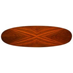 Mid-Century Modern Figured Walnut Elliptical Surf Board Style Coffee Table