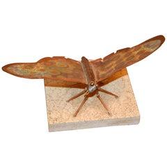 Mid-Century Modern Fine Art Sculpture Shaped Butterfly in Copper Terracotta Tile
