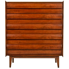 "Mid-Century Modern ""First Edition"" Walnut Highboy Dresser by Lane, circa 1960s"