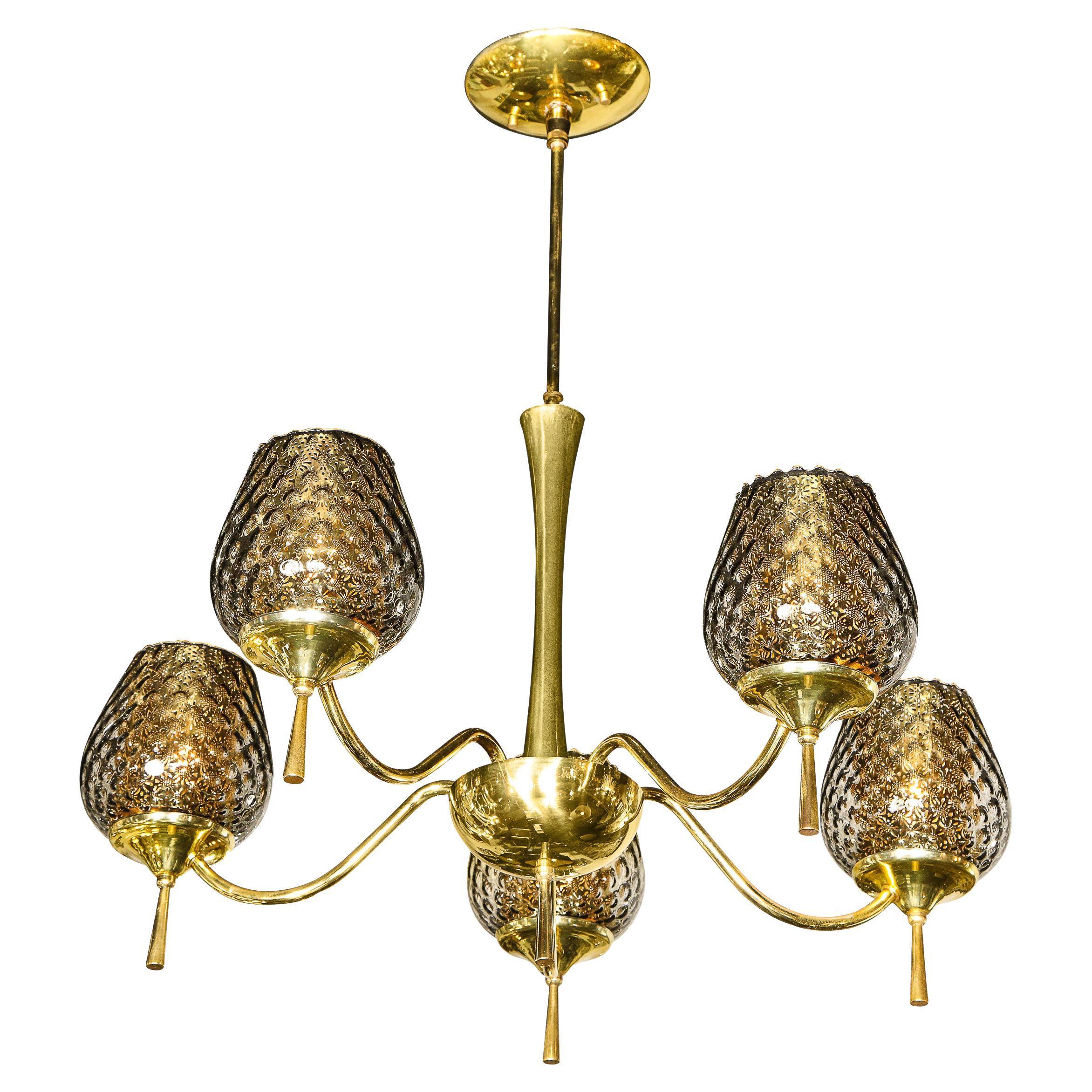 Mid Century Modern Five Arm Brass & Smoked Textured Murano Glass Chandelier
