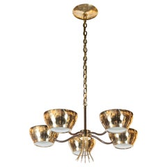Mid-Century Modern Five-Arm Perforated Brass Chandelier by Lightolier