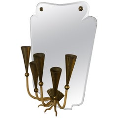 Mid-Century Modern Five Lights Italian Mirror Wall Sconce, circa 1950