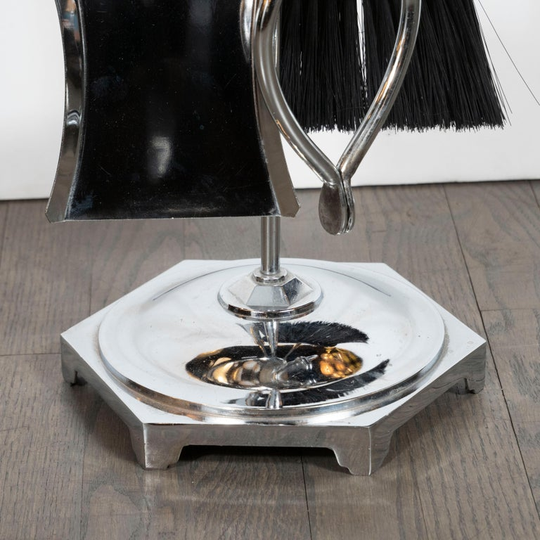 American Mid-Century Modern Five-Piece Chrome Fire Place Tool Set For Sale